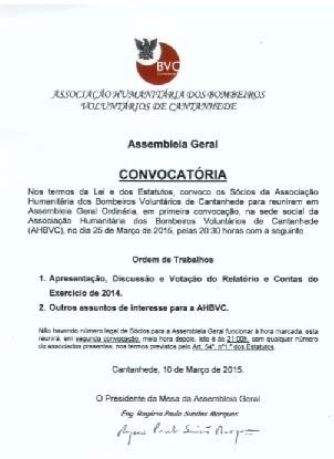 AHBV de Cantanhede reúne-se em Assembleia Geral